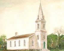 south ferry church post card